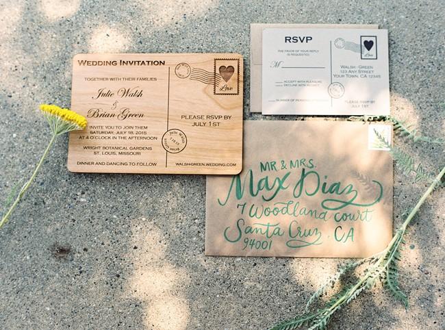postcard style wedding stationery