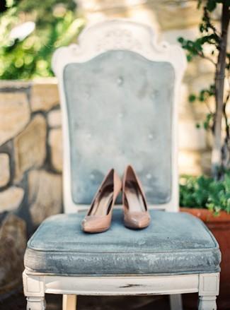 vintage chair with bridal heels