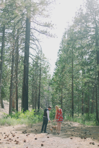 A couple standing in the forest with their puggle for a photography sesssion