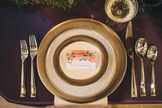 vintage fall wedding inspiration shoot gold charger place setting