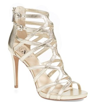 'Fantin' platform multi strap heeled sandal in gold