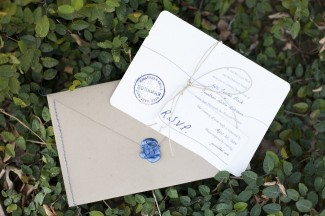 Postcard wedding invitation RSVP card with blue seal