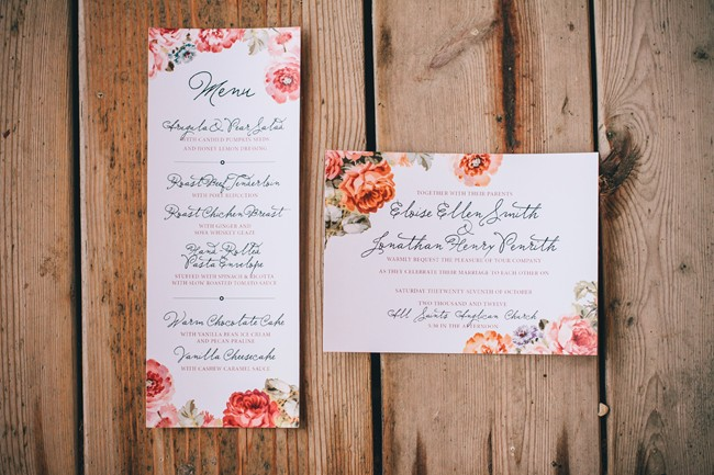 Orange floral design wedding invitation for a vintage fall wedding inspiration shoot