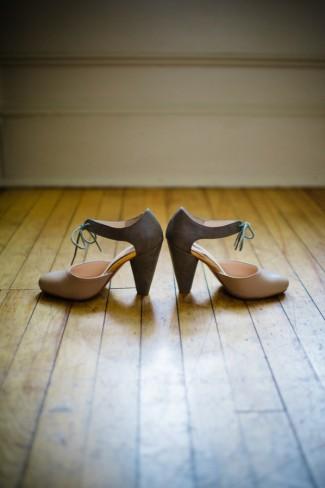 bridal pumps with ties on wood floor at Apple Tree Lane B&B