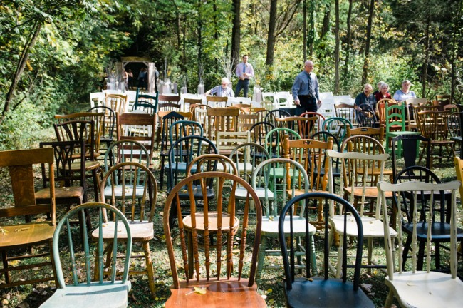 Rustic wedding ceremony seating at Apple Tree Lane Bed and Breakfast