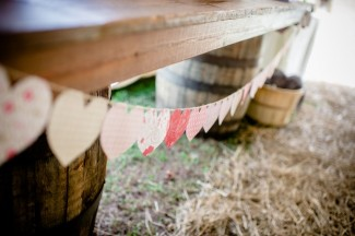 multicolor paper heart bunting banner hanging from table at Apple Tree Lane Bed and Breakfast Wedding