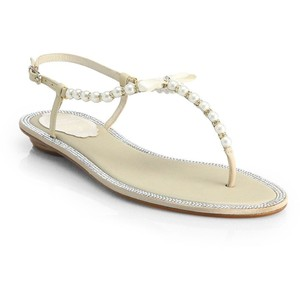 Rene Caovilla white pearl bridal sandals