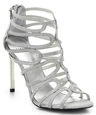 Stewart wiseman multi strap heeled sandle in silver