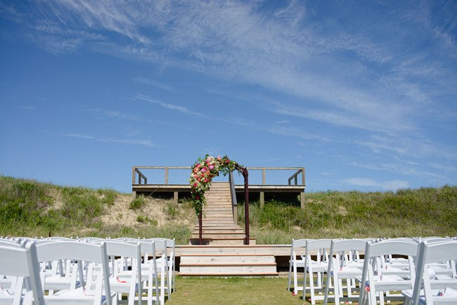 ceremony site for beach wedding at Sanderling Resort