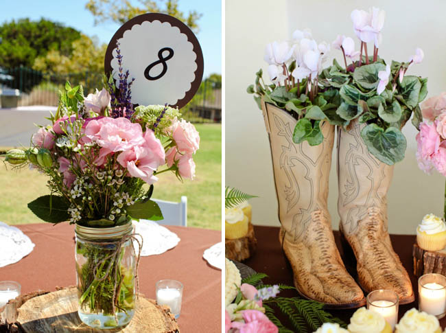 Mason jar with garden flowers on wood slab left photo)