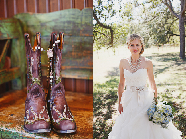 dark brown cowboy boots on wood bench left photo bride in white a