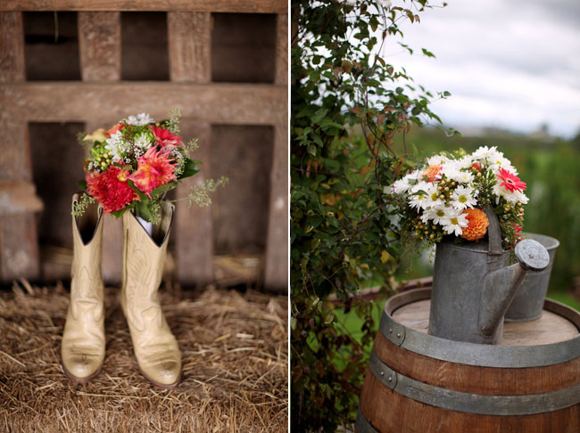 Light Cowboy boots on hair with flower bouquet in one boot asdfasdf