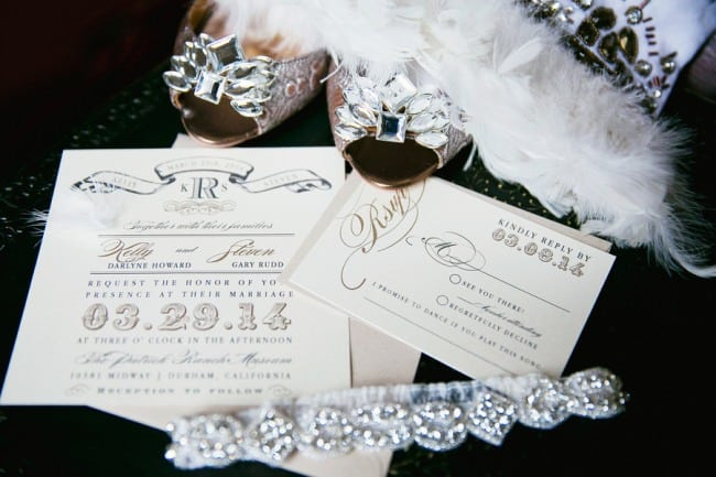 Vintage style wedding invitations, sash belt and Badgley mischka peep toes