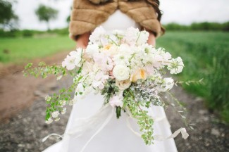 beautiful loose white, pink, purple bridal bouquet