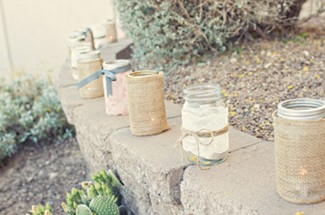 mason jars wrapped in burlap