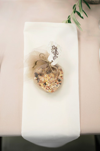 heart shaped bird seed wedding favor