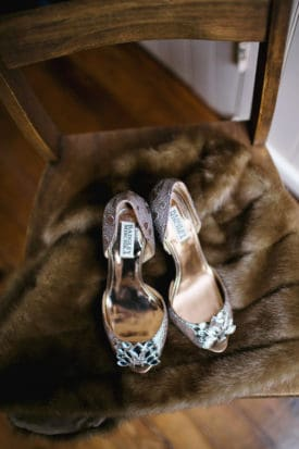 Badgley Mischka heels on fur stole