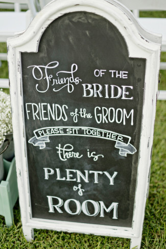 Chalkboard sign for wedding ceremony for guest seating