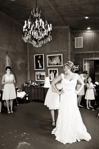Bride getting ready at Price Mountain Farms Barn