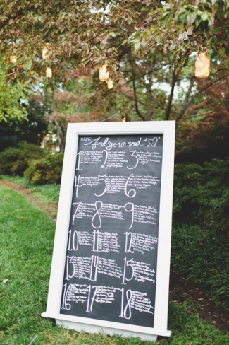 large chalkboard sign on grass with guest names and table numbers