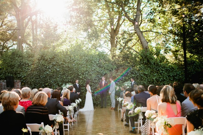 Bride and groom marry in an intimate backyard wedding setting