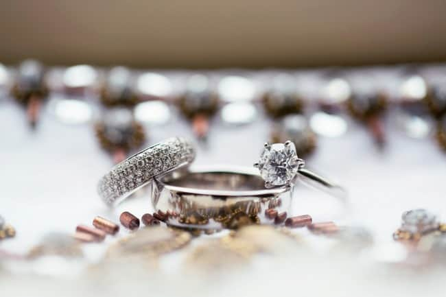 Wedding bands with round diamond engagement ring