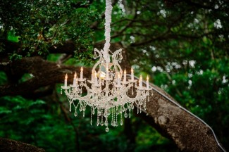 ornate chandelier hanging from tree for outdoor wedding