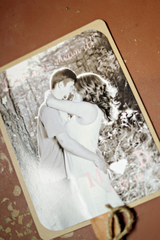 Engagement photo of bride and groom on front of Wedding ceremony program fan