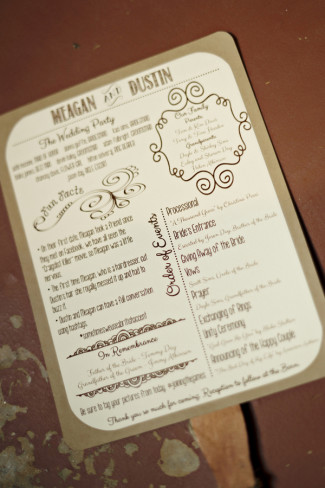 Brown and white wedding ceremony program fan