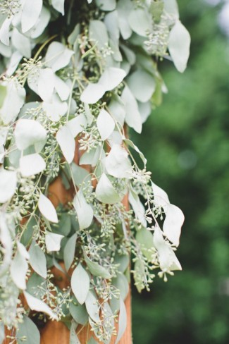 Wedding ceremony altar with eucalyptus leaves