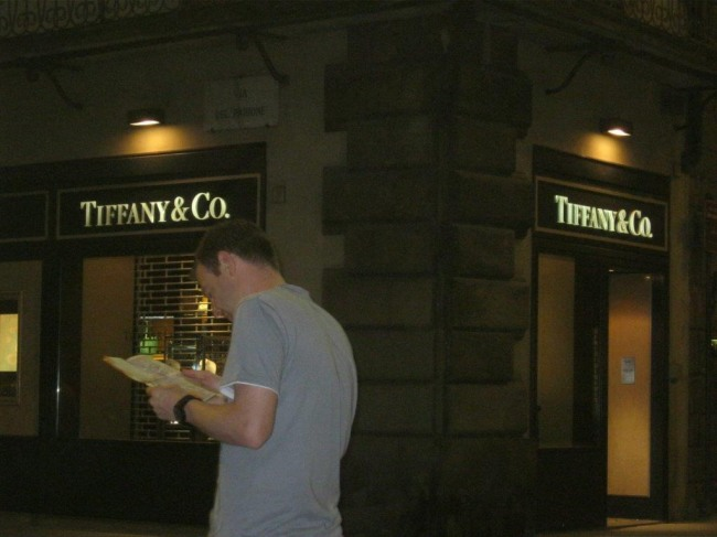 Searching for a halo engagement ring in Florence outside Tiffany & Co