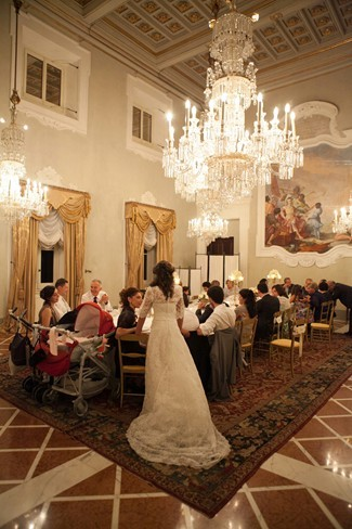Intimate wedding reception in ballroom of four seasons hotel in florence