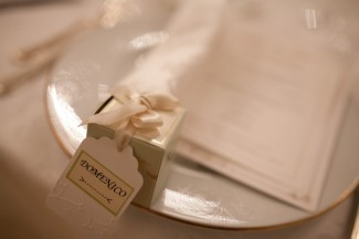 Intimate wedding reception place setting