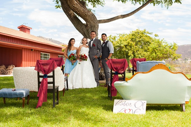 Outdoor vintage mismatched wedding ceremony seating at Williams Barn Heritage Park