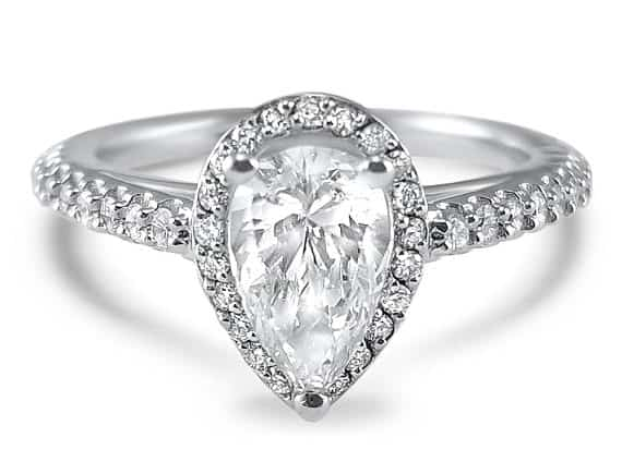 Pear Diamond Halo engagement ring in white gold