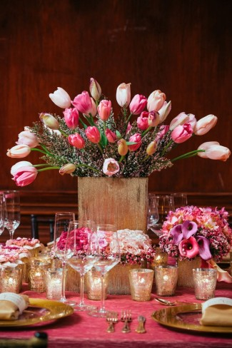 Romantic,-Pink-Tulip-Floral-Wedding-Centerpiece-Display