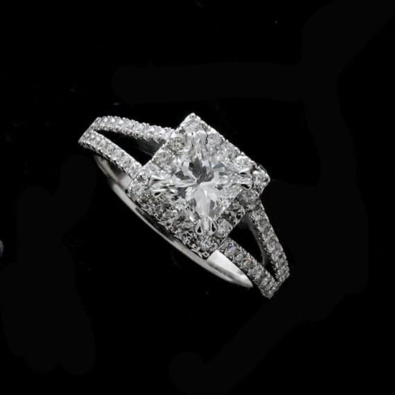 Split Shank Princess cut Halo Diamond Engagement Ring