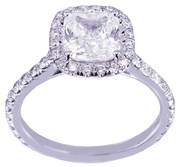 White Gold Cushion Cut Diamond Engagement Ring Halo