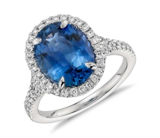 blue sapphire halo ring from bluenile
