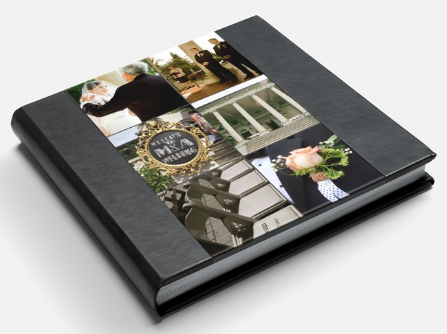 Montage photobook cover with eco-friendly leather binding