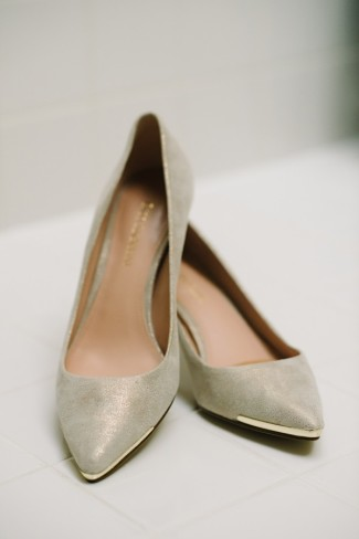 Enzo Angiolini bridal heels with gold toe tip