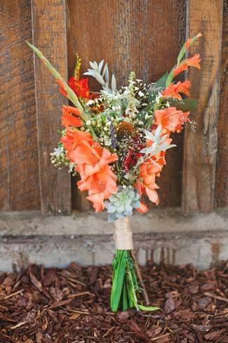 orange and green wild flowers for bridal bouquet