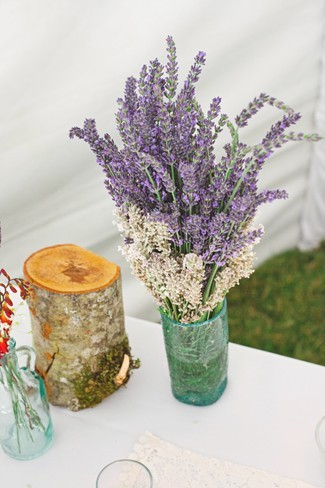 bouquet of lavender in a blue glass vase