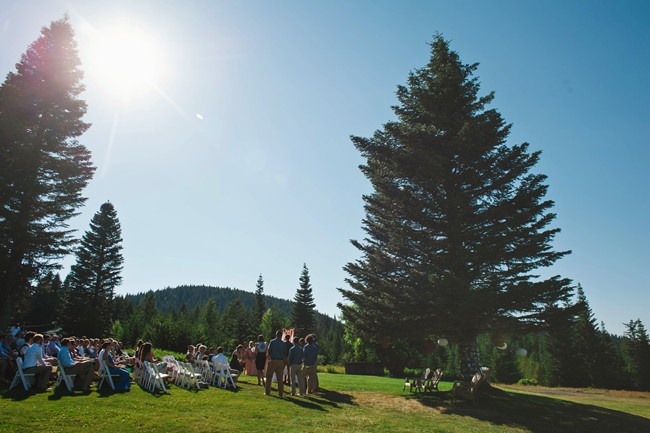 Colorful outdoor Wedding ceremony at the Inn at Cooper Spur