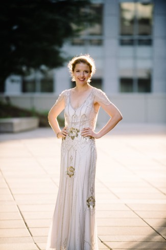 Bride wearing Jenny Peckham Eden gown with gold sequins