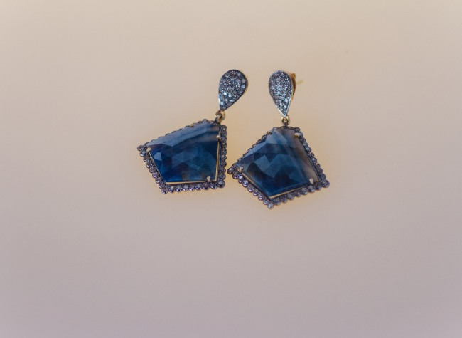 Blue rhinestone drop earrings by Avindy