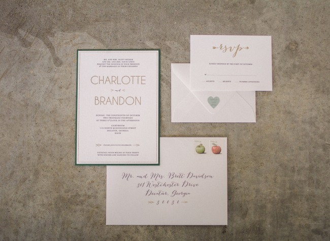 Wedding invitations with clean lines for modern romantic styled shoot