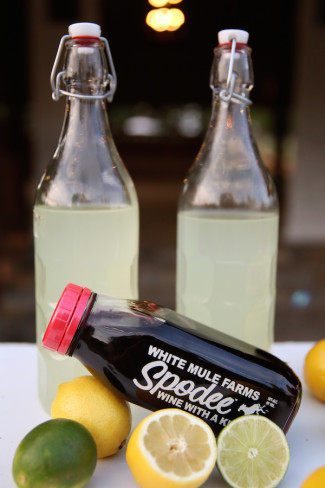 Three old glass bottles with limes and lemons for cocktail hour