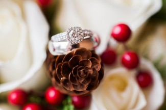 Halo diamond ring sits on pinecone decor