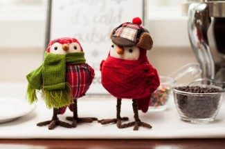 two plush birds wrapped in scarf and hat, sit on dessert table